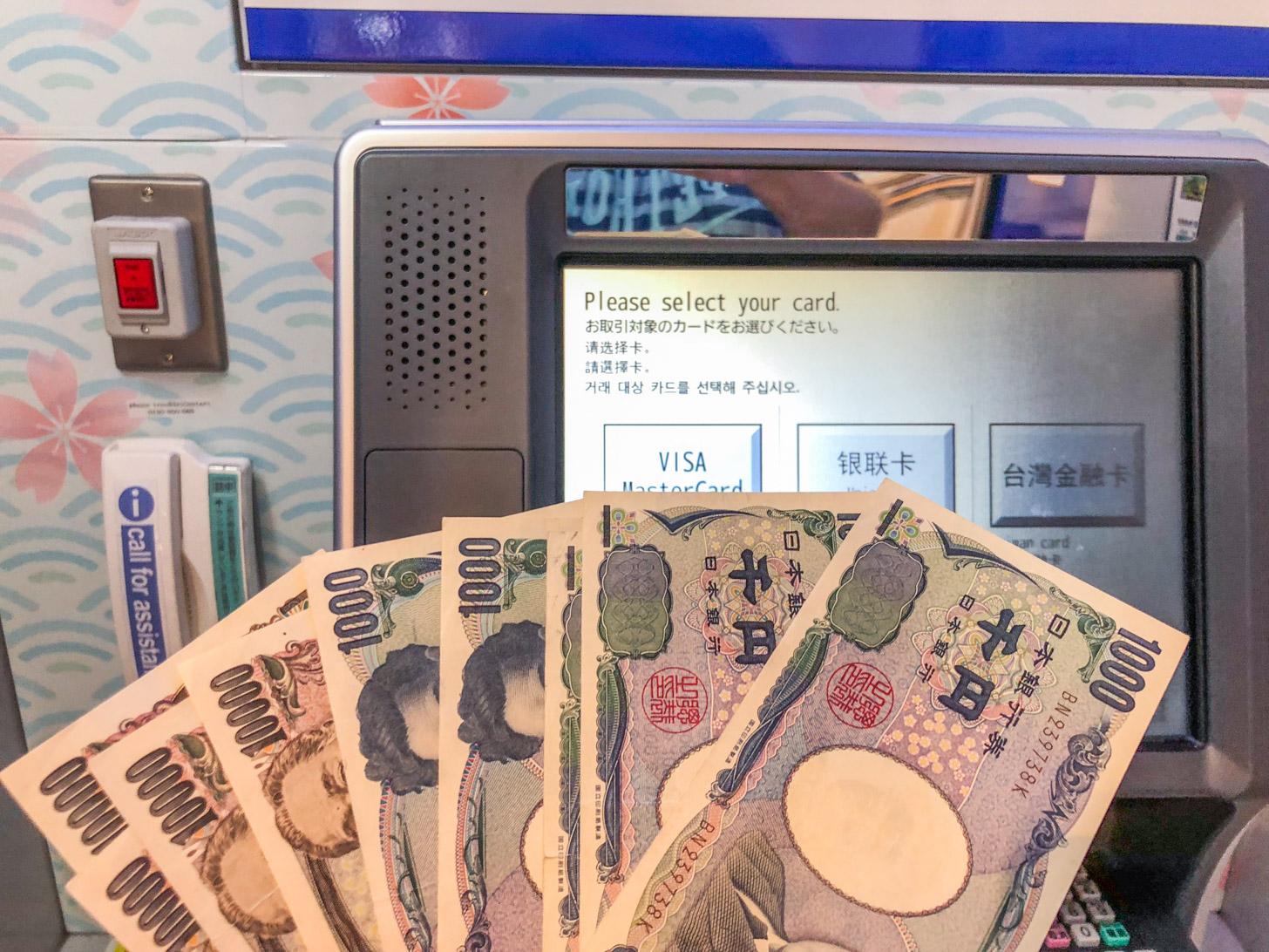 Japanse yens uit de geldautomaat